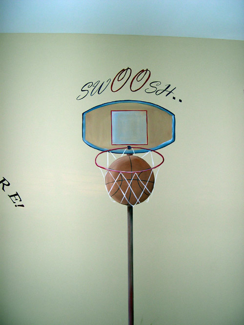 Basketball Painting on Bedroom Wall