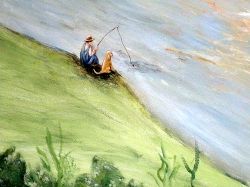 Boy Fishing Mural