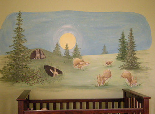 Bunnies Playing Mural