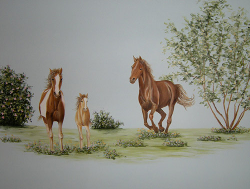 Wild Horses Mural - Nature - Girl's Rooms Decorating Ideas