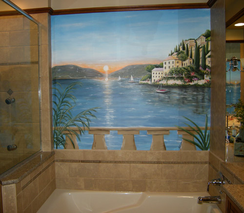 Master Bath with View of Mediterranean