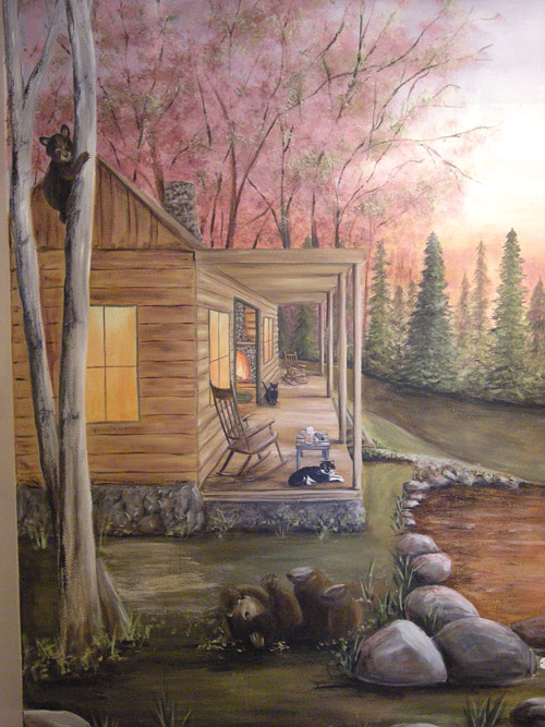 North Woods Cabin - Rustic - Outdoors - Murals - Cabins - Bears Playing