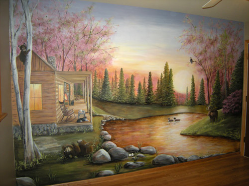 North Woods Cabin - Rustic - Outdoors - Murals - Lake - Sunset
