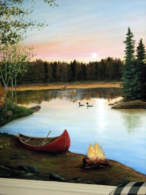 North Woods - Rustic - Outdoors - Murals - Lake - Sunset
