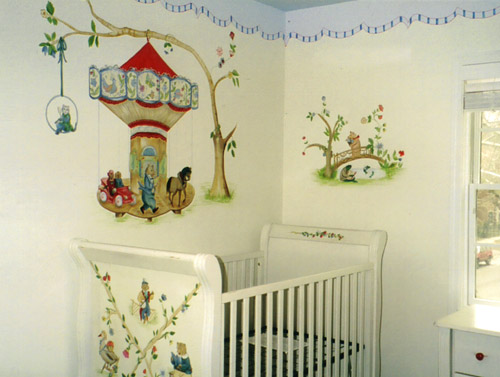 Nursery Mural with Hand-Painted Crib