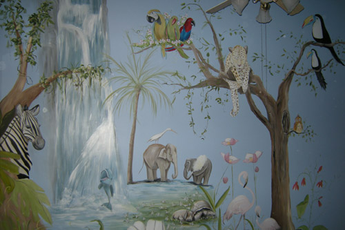 Rainforest Jungle Nursery Murals - Murals for Baby's Rooms - Newborn Baby