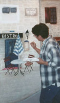 Debbie Cerone at Work Painting a Mural in an Elmhurst Kitchen