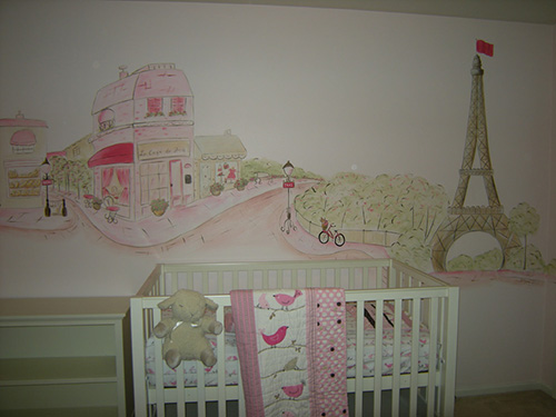 French Nursery Mural with Eiffel Tower