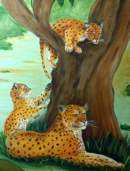 Leopard Mom and Cubs Mural