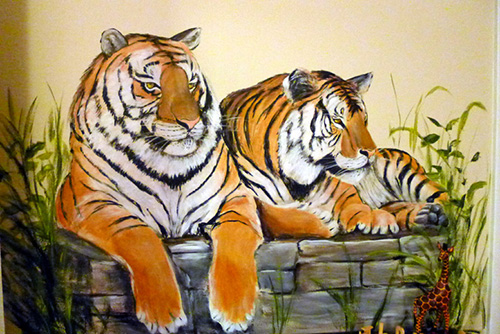 Jungle Mural Bengal Tigers