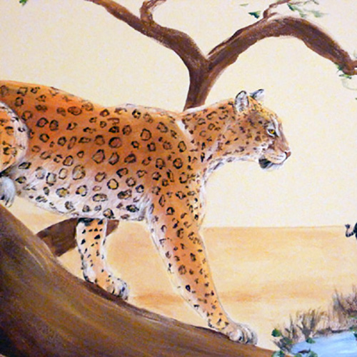 Leopard on Branch Jungle Mural