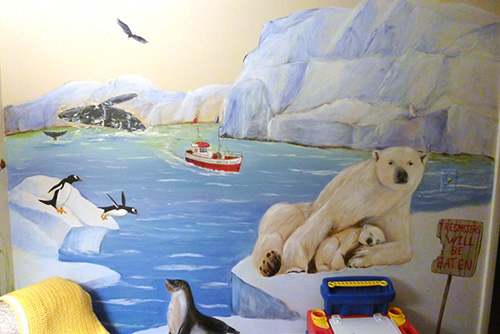 North and South Pole Murals - Penguins, Seals, Whales and Polar Bears