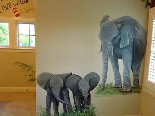 Elephant Mom and Babies Jungle Mural