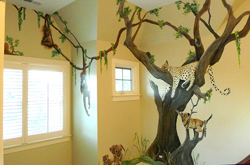 Jungle Animals in Tree Mural