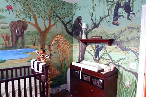 Safari Nursery Mural with Chimps, Elephants, Giraffes and More