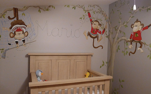 Chicago Blackhawks Monkey Baby Nursery Mural