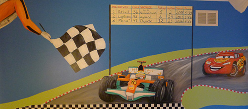 Formula One Race Car Mural Boys Room