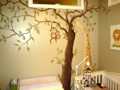 Jungle animal murals for children and nursery rooms for Baby room jungle mural